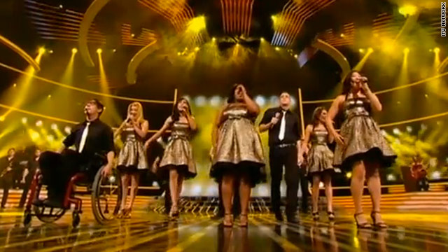 'Glee' cast performs on 'X Factor' in Britain