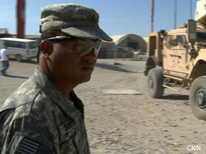 Sgt. Randy Shorter on the base in Sharana, Afghanistan.