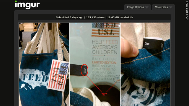 Gap apologizes for &#039;FEED USA&#039; bags made in China