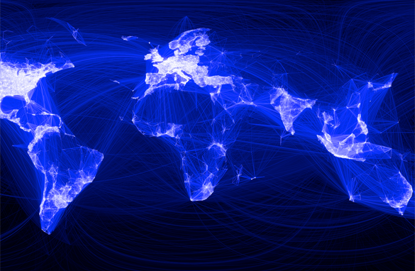 A map showing global connections with Facebook friends draws an accurate rendering of the world – with one glaring exception.