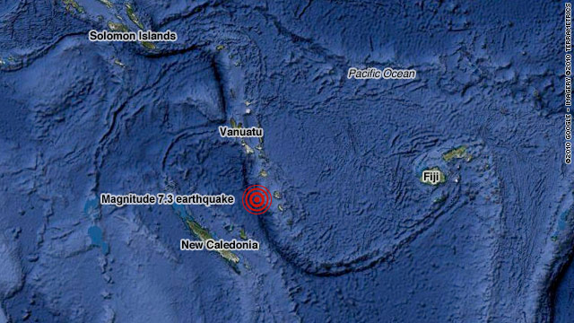 World Map Vanuatu. Strong earthquake hits Vanuatu