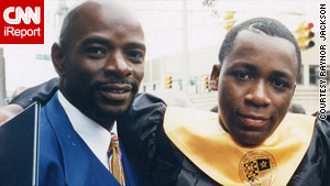 Marlon with his father, Leighton Jackson, at his graduation from Hudson Catholic High School in 1997.