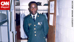 Marlon sent this photo of him in his service uniform to his uncle, Raynor Jackson, who he would visit in Georgia several times a year.