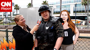 iReporter Chris Morrow interviews Dillon, a Petty Officer in the Navy, at this year's Comic-con in San Diego.