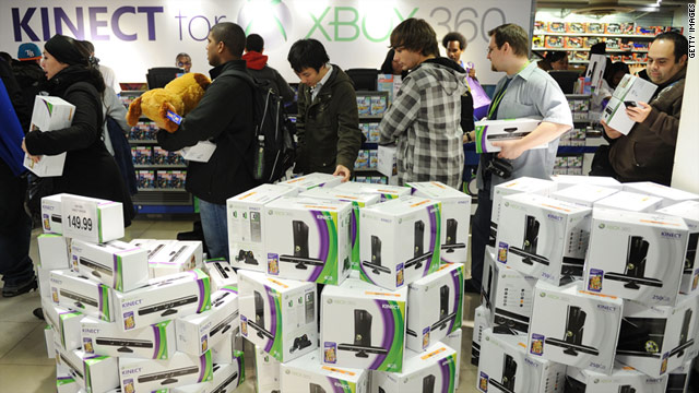 The first customers purchase Kinect for Xbox 360 on November 4, 2010 in New York.