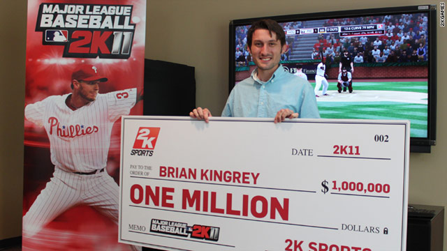 Brian Kingrey, 25, used Philliles ace Roy Halladay to throw a perfect game, earning him a $1 million check.