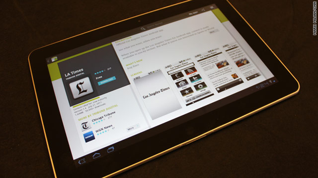 The Los Angeles Times' app is available for download in the Android market, seen here on the Samsung Galaxy Tab 10.1.