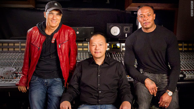 HTC CEO Peter Chou, center, is teaming up with Beats principals Jimmy Iovine, left, and Dr. Dre to improve devices' audio fidelity.