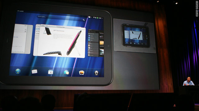 Sachin Kansal introduces the HP TouchPad during the WebOS event in February 2011.