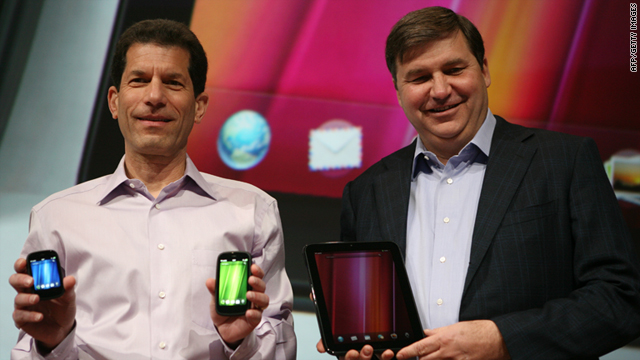 HP executives Jon Rubinstein, left, and Todd Bradley unveiled the products now being discontinued at an event in Februrary.
