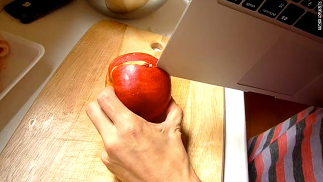 A series of bizarre cooking videos show the MacBook Air being used as a kitchen knife -- somewhat successfully.