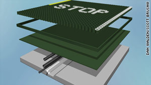Solar road panels would include glass layers, solar power cells, heating elements and LED road markers.