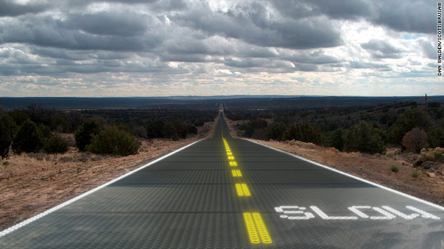 An artist's conception of engineer Scott Bursaw's proposed solar roadway, which would resist ice and snow.