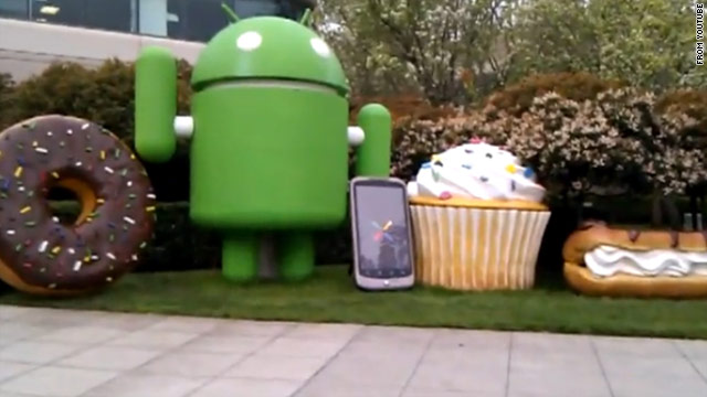 Google names its mobile operating systems after desserts and even creates statues of them, as this YouTube image shows.