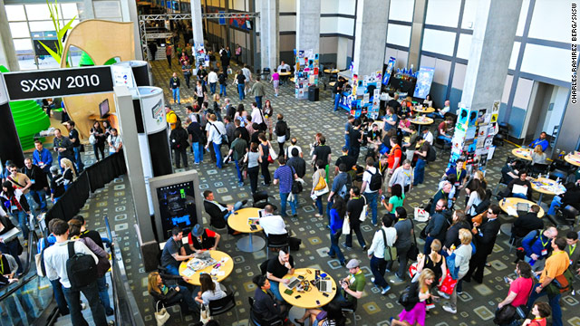 Dozens of Web startups purchase booths in the convention center to pitch their products.