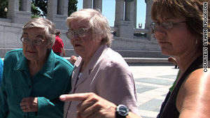 "Jean Bartik, center, visited the National WWII Memorial while filming the ""Top Secret Rosies"" documentary."