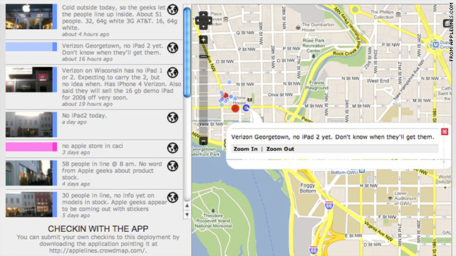 An Ushahidi project called Apple Lines used a check-in function to map crowds waiting for the iPad 2 in Washington, D.C.