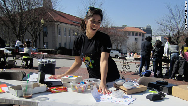 "Google student ""ambassadors"" at Emory University in Atlanta set up a table on campus to promote Google products."