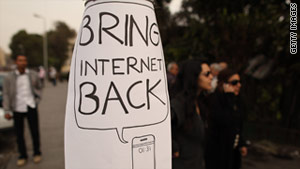 Protesters in Cairo, Egypt, call for the return of the Internet on February 1 after the government shut it down.