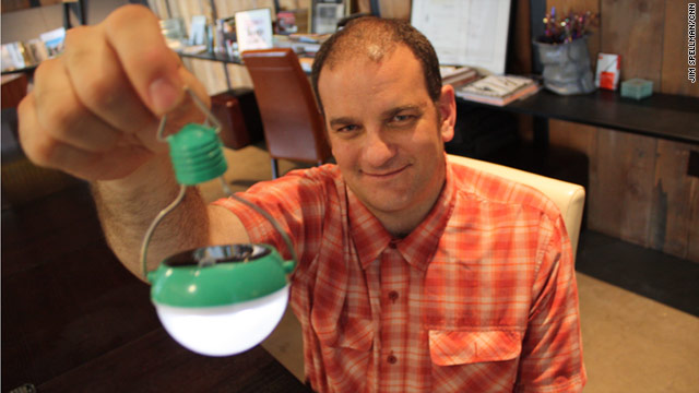 Inventor Steve Katsaros believes selling his solar bulbs, instead of donating them, will help more people in developing countries.