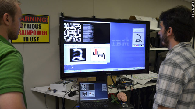 IBM researchers demonstrate the cognitive computing chip's ability to recognize handwriting.