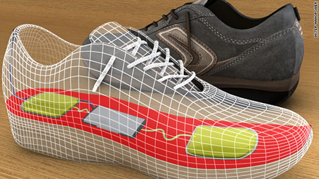 "An ""energy harvester"" in a user's shoe could convert energy from walking into power for cell phones, researchers say."
