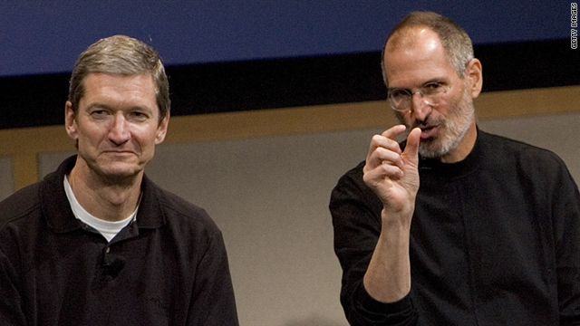 Tim Cook, left, is replacing Steve Jobs as CEO of Apple.
