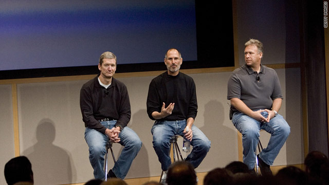 Tim Cook, Steve Jobs and Phil Schiller introduce new Apple products in 2007.