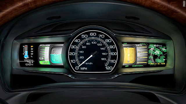 Ford's SmartGauge, shown here in the Lincoln MKZ Hybrid, provides real-time feedback on your driving style and fuel efficiency.