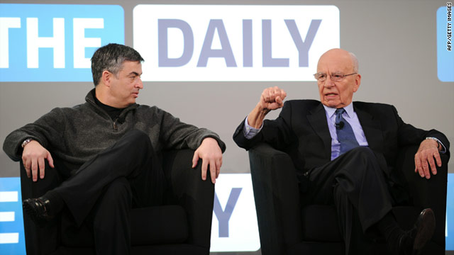 Rupert Murdoch, right, and Eddy Cue, Apple's vice president of Internet Services, at the launch of The Daily.