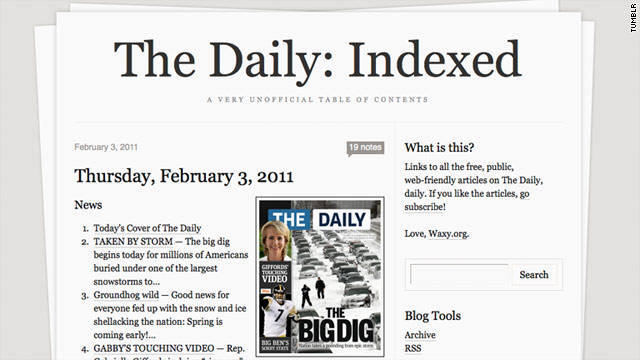 """Frankly, I'm... very curious about the legal implications,"" writes Andy Baio, who is indexing Daily content on the Web."