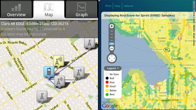Applications from Open Signal Maps and RootMetrics help smartphone users chart where their phones will and won't work.
