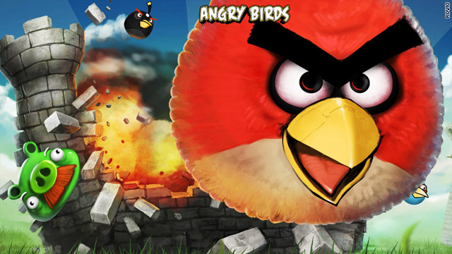 "The popular mobile app ""Angry Birds"" hit 50 million downloads last year."