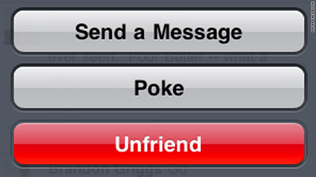 "Facebook now allows users to ""unfriend"" people from an iPhone app."