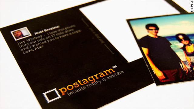 Postagram postcards allow recipients to pop out the image, created with the Instagram mobile app, or leave it in the card.