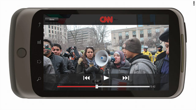 CNN's Android app for smartphones lets users upload content for CNN's iReport.
