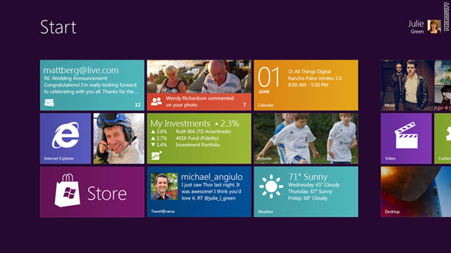 Windows 8 will have a look familiar for those who have used Microsoft's Windows Phone 7.
