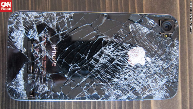 This iPhone fell out of Jarrod McKinney's pocket while he was skydiving. It still makes calls, he says.