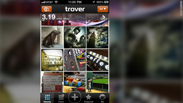 Trover uses GPS to figure out where you are and show you things other users have thought were interesting.