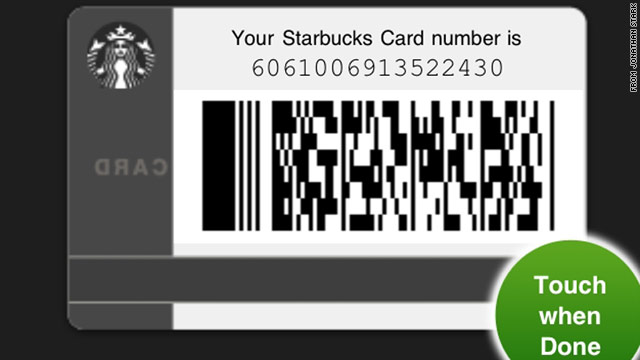 Use this card! Jonathan Stark has offered up his Starbucks Mobile app on the Web for others to use.
