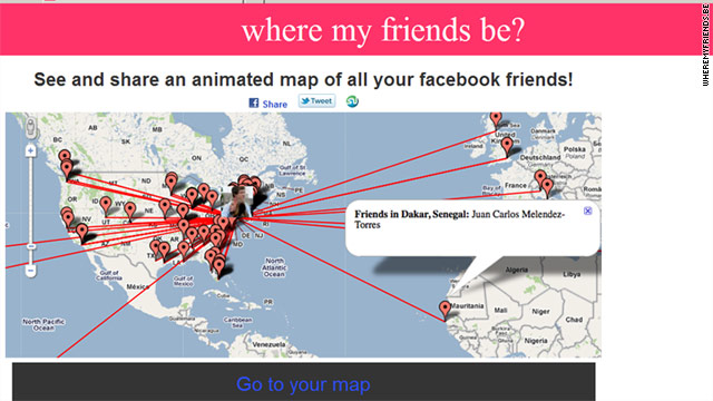 """Where My Friends Be?"" has hit the map for curious Facebook friends."