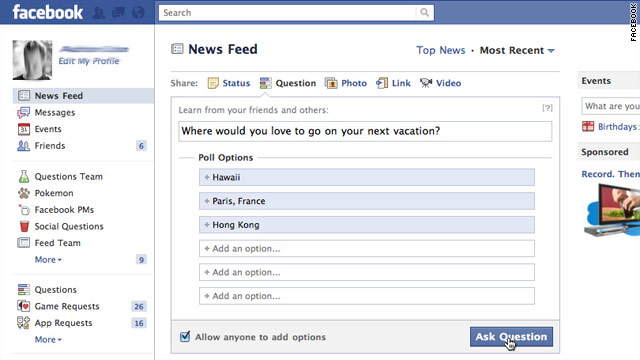 facebook unveils new version of questions tool. Black Bedroom Furniture Sets. Home Design Ideas