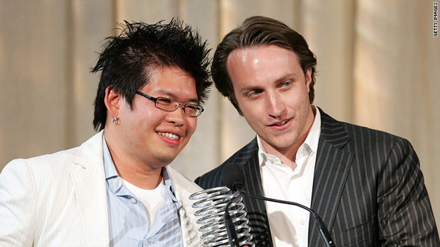 YouTube founders Steve Chen, left, and Chad Hurley are looking to make a comeback with Delicious.