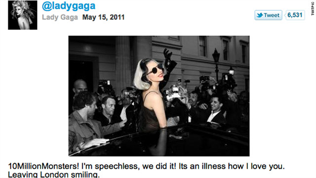 "Lady Gaga also tweeted a photo of herself, saying ""Leaving London smiling."""