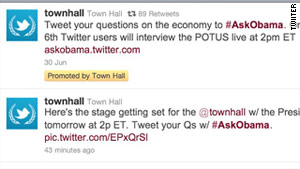 Twitter users are being asked to tweet their questions to the hashtag #AskObama.