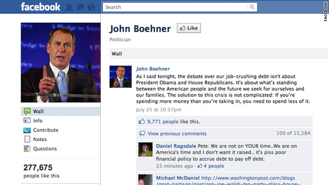 All House Speaker John Boehner's Facebook posts in the past two weeks have articulated his positions on the debt crisis.