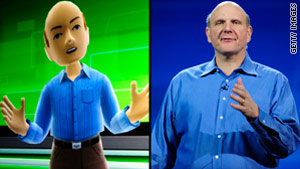 Steve Ballmer's avatar, left, doesn't quite measure up to his real-life counterpart.