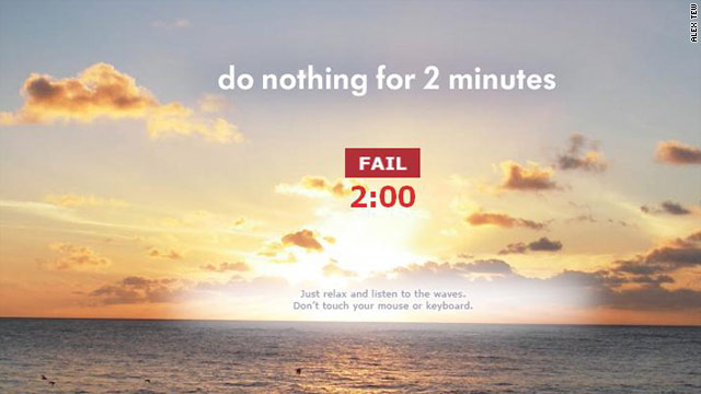 "The creator of the ultra-busy ""Million Dollar Homepage"" offers web users a new challenge: Do nothing for two minutes."