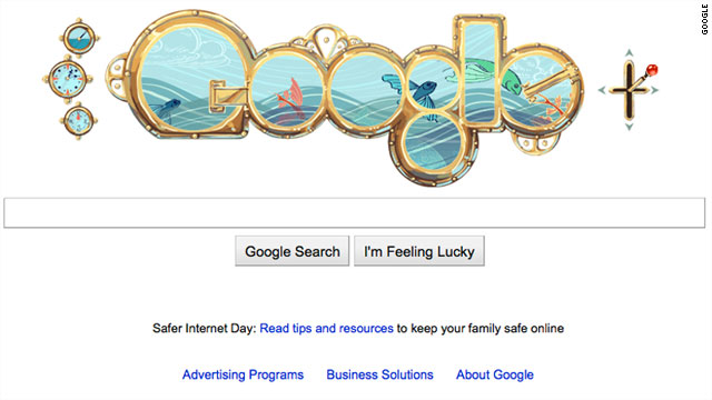 Explore the depths of the sea, using the lever on the right of Google's logo today.
