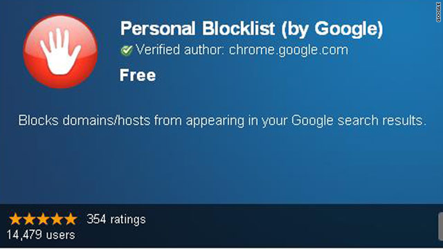 "A new extension for Google Chrome lets users create a ""Personal Blocklist"" of sites they don't want in search results."